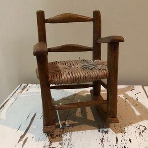 Small Wooden Boho Rocking Chair Plant Stand
